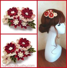 Red white flower hair comb, Kanzashi flower hair comb, Bridal hair accessory, Kimono and Cosplay hair comb, Tsumami kanzashi   #tsumamikanzashi #kanzashi #haircomb #hairpiece #flower #hairaccessories #bridalhair #cosplaygirl