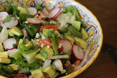 black bean, radish, jicama and avocado salad with cotija cheese