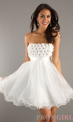 Short Strapless Prom Dress by Dave and Johnny at PromGirl.com