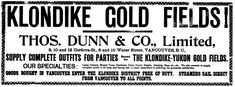 A 1898 advertisement in the Vancouver World advertising goods for the Klondike Gold Rush.