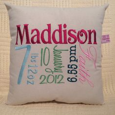 Girl keepsake cushion, unique personalised embroidered cushion pillow, for baby birth or newborn design your own
