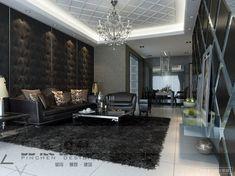 dark Living room feature walls textures chandelier