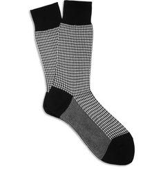 Beams PlusHoundstooth Cotton-Blend Socks