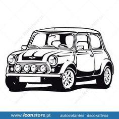 Mini Cooper autocolante de parede - iconstore.pt Mini Cooper Classic, Mini Cooper S, Classic Mini, Classic Cars, Mini Morris, Car Silhouette, Mini Doodle, Car Tattoos, Shadow Photos