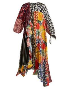 Blend of America Biyan - Arista Patchwork Silk Dress - Womens - Multi Scarf Dress, Poplin Dress, Patchwork Dress, Silk Crepe, Alternative Fashion, Passion For Fashion, Designer Dresses, Women Wear, My Style