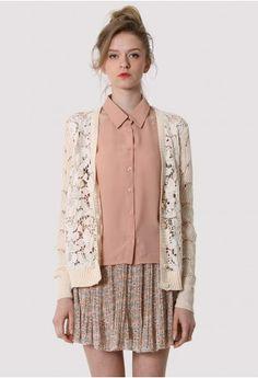 Lace Crochet Cardigan with Chiffon Back    #Chicwish