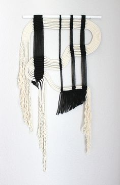 "Macrame Wall Hanging ""blk + wht #8"" by HIMO ART, One of a kind Handcrafted Macrame, rope art"