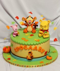 cake for baby Winnie The Pooh Cake, Winnie The Pooh Birthday, Winnie The Pooh Friends, Baby Birthday Cakes, 1st Boy Birthday, Pool Cake, Friends Cake, Birthday Cake Decorating, Disney Cakes