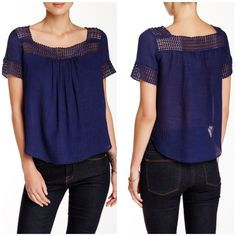"""Rebecca Minkoff Andy eyelet blouse Brazil blue - Square neck - Short sleeves - Curved hem - Cotton eyelet trim - Gauze construction - Lined - Approx. 22"""" length - Imported Fiber Content: Shell: 67% wool, 33% silk Combo: 100% cotton Lining: 95% polyester, 5% spandex Fit: this style fits true to size.  Bundle for even bigger savings! Offers welcome. No trades. Rebecca Minkoff Tops Blouses"""