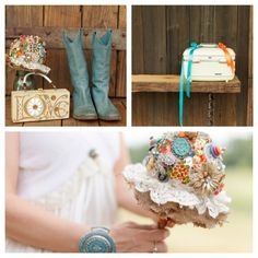 My Wedding! Vintage Brooch & Button Bouquet, Blue Cowboy Boots, Vintage Enid Collins Love Purse, Mason Jar & Vintage Samsonite Train Case.