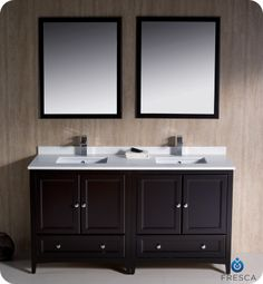 Fresca 60 Espresso Traditional Double Sink Bathroom Vanity w Mirrors & Faucets