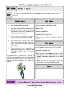 Challenge your students to design a device that throws a water balloon as far as possible.This page is a printable rubric and lesson plan to use, explaining the quiz and test grades associated with the project. Adjust as needed for your class!This project is part of 50 More STEM Labs