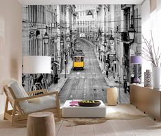 You'll love the Streets of Lisbon Wall Mural at Tapeto. This black and white mural that captures Lisbon's trams in stunning yellow light Interior Design Living Room, Living Room Decor, Home Wallpaper, Metal Wall Decor, Wall Art Designs, Designer Wallpaper, Wall Murals, Modern, House Design