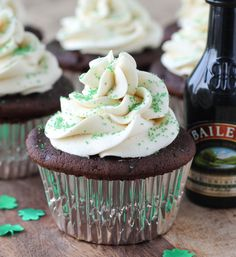 Guinness Chocolate Cupcakes with Bailey's Buttercream and Salted Caramel Filling~T~ YUM