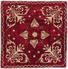 'Bohça' (wrapper).  'Goldwork' embroidery on velvet; technique: 'sarma' / 'Maraş işi'.  Late-Ottoman Turkish , ca. 1900.