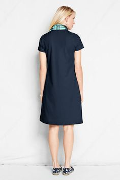 Women's Short Sleeve Madras Trim Polo Dress from Lands' End (in other colors too!)
