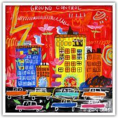 Troy Henriksen - Ground Control - Acrylique et mixte sur toile - 100 x 100 cm - 2015 - Galerie W - Galerie d'Art contemporain à Paris #galeriew #gallery #w #gallery w #troy-henriksen @galeriew