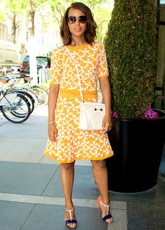 Kerry Washington out in New York City and wearing Tanya Taylor...