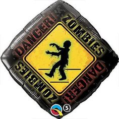 "18"" Danger Zombie Crossing Balloon Bouquet Party Decoration Happy Halloween"