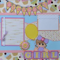 Premade Scrapbook Pages Birthday Girl made with Paper Piecings. $39.99, via Etsy.