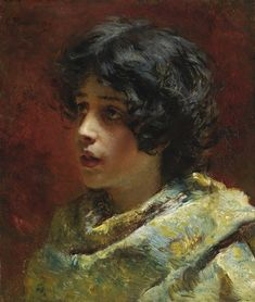 Konstantin Egorovich Makovsky | Lot | Sotheby's KONSTANTIN EGOROVICH MAKOVSKY 1839-1915 PORTRAIT OF A YOUNG GIRL signed in Latin t.l. oil on panel 33.5 by 28cm, 13 1/4 by 11in.