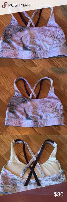 Lululemon sport bra Pink and black splatter pattern sports bra. Adorable and shows no signs of wear! lululemon athletica Intimates & Sleepwear Bras