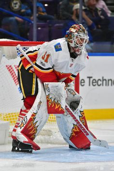 Calgary Flames goalie Eddie Lack during a National Hockey League game between the Calgary Flames and the St Louis Blues on October 25 at Scottrade. Hockey Goalie, Field Hockey, Hockey Teams, Hockey Players, Ice Hockey, Soccer, Hockey Stuff, Flame Picture, Goalie Mask