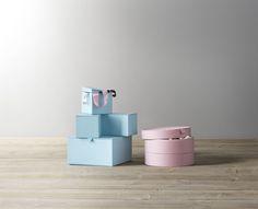 PALLRA doos met deksel, set van 4 | #IKEAcatalogus #nieuw #2017 #IKEA #IKEAnl #papier #lichtroze #lichtblauw #doos #deksel