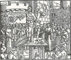 """Rendering of William Tyndale's execution in 1536. Despite Cromwell's intercession on his behalf, Henry VIII ordered his execution on the charges of heresy. Tyndale's last words were reputed to be, """"Lord! Open the King of England's eyes."""" Within 4 years, Henry had changed his tune and ordered four translations of the Bible published in England- including his own official Great Bible- which were all influenced by Tyndale's work."""