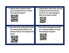 FREE Looking for an easy, fun, and interactive way for your students to practice elapsed time? These QR codes may be just what you are looking for! Students will practice finding elapsed time in word problems and will also practice reading a clock. Once they solve the problem they check themselves using an ipad or iphone.I use this as a review center or as a choice on a Tic-Tac-Toe board.