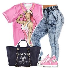 """Untitled #1213"" by kiaratee ❤ liked on Polyvore featuring Nicki Minaj, Sterling Essentials, Chanel and Converse"