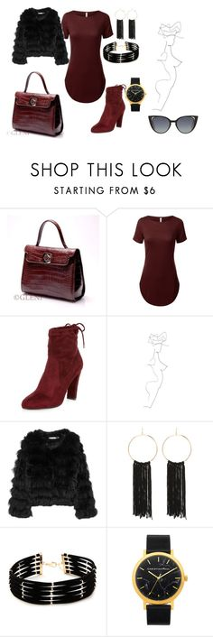 """""""work"""" by hajarshelley ❤ liked on Polyvore featuring River Island, Alice + Olivia, Bebe, Forever 21 and Fendi"""