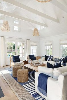 Are you planning on redecorating or redesigning your living room? If so, what kind of style that you want to adopt for your new living room design? Well, you should consider to have coastal living room design. Until now, this… Continue Reading → Beach Living Room, Design Living Room, Home Living Room, Apartment Living, Navy And White Living Room, Hamptons Living Room, Blue And White Living Room, Coastal Bedrooms, Coastal Living Rooms
