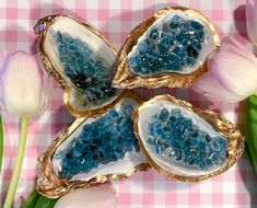 Oyster Shell Crafts, Oyster Shells, Sea Shells, Blue Geode, Jewelry Dish, Jewellery, Seashell Crafts, Clear Resin, Ring Dish