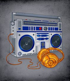 Star Wars Art. This would be the only boom box and headphones for me! You could look totally boss with those fine lookin' trinkets!