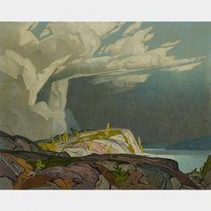 A.J. Casson - Summer Storm - Byng Inlet 24 x 30 Oil on canvas