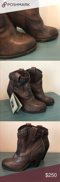 FRYE NWT Brown Leather Studded Heel Boots 6.5 - clean and smoke free home  - No holes or stains  - Studded detail along top trim  - Stacked heel  - NWT // never worn  - Retail for $398  - Soft leather has some areas that appear darker or lighter than others but it's just the nature of the leather. Shoes will be neatly packaged to avoid scuffs  - Size 6.5  - Check my other listings // bundle discounts!!!  - Does not come with original box Frye Shoes Heeled Boots