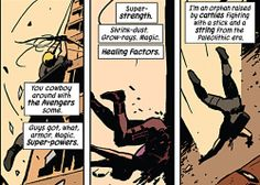 Clint Barton knows how to introduce himself. [Hawkeye #1, 2012]