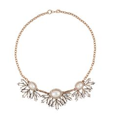Mood Online exclusive pearl and navette stone drop necklace- at Debenhams.com