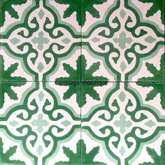 1m2 carreaux ciment modele flore-vert - carrelage-mosaique