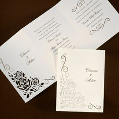 Cut-out roses are shown on the front of this tri-fold invitation. Spanish Wedding Invitations, Wedding Invitation Trends, Creative Wedding Invitations, Wedding Trends, Invitation Design, Wedding Ideas, Corset Back Wedding Dress, Making A Wedding Dress, Elegant Wedding Gowns