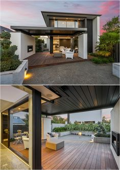 A Modern Masterpiece | Beautiful Outdoor Living | Harcourts Gold Real Estate | 14 Jacksons Road #realestate #homesforsale #Harcourts #Fendalton #OutdoorLiving #Twilight #Patio #Deck #Fireplace #Logburner #nature #modern #architecture #modernoutdoorfireplaces