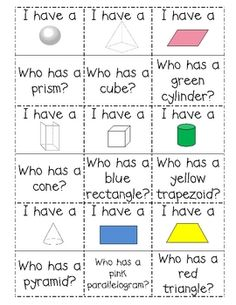 """Solid Figures review: """"I Have Who Has"""" game - cut out cards and pass them out to students"""