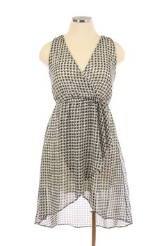 Swept Away Houndstooth Chiffon Plus Size Dress In Black and White