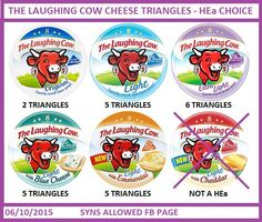 Laughing cow cheese triangles slimming world syn values Slimming World Syns List, Slimming World Survival, Slimming World Puddings, Slimming World Syn Values, Slimming World Treats, Slimming World Free, Slimming Word, Slimming World Recipes, Slimming Eats