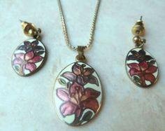 Vintage cloisonne enamel Lily flower design, necklace and earring set by Fish And Crown.