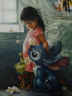 """""""Ohana Means Family"""" painting of Lilo and Stitch"""