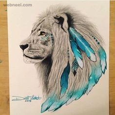 Lion art drawing by scandy girl http://webneel.com/25-beautiful-color-pencil-drawings-valentina-zou-and-drawing-tips-beginners | Design Inspiration http://webneel.com | Follow us www.pinterest.com/webneel
