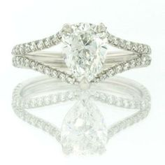 Engagement Ring Mountings With Pear Shape Sides Diamond 35