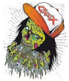 "Crisix ""Ultra Fucking Trash"" t-shirt illustration by Marcos Cabrera, via Behance"